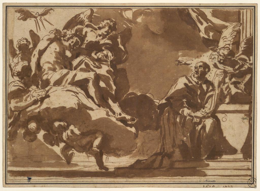 Carlo Maratta, L'Apparition du Christ a? saint Charles Borrome?e, vers 1670-1675, Pierre noire, plume et encre brune, lavis brun; colle? en plein, 760 x 244 mm © Muse?es d'Angers